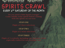 SPIRITS CRAWL TOUR! SATURDAY, JANUARY 10TH